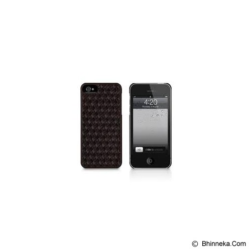 MACALLY Apple iPhone 5 Texture Snap On Case With Classic Faux Leather Exterior Finish [WEAVE5BR] - Brown - Casing Handphone / Case